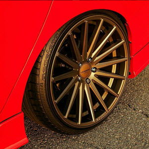 Accelera tire on sports car